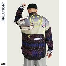 INFLATION 2020 FW Oversize Men Shirt Streetwear 2020 Autumn Funny Digital Print Long Sleeve Men Shirt Harajuku Men Shirt 92155W