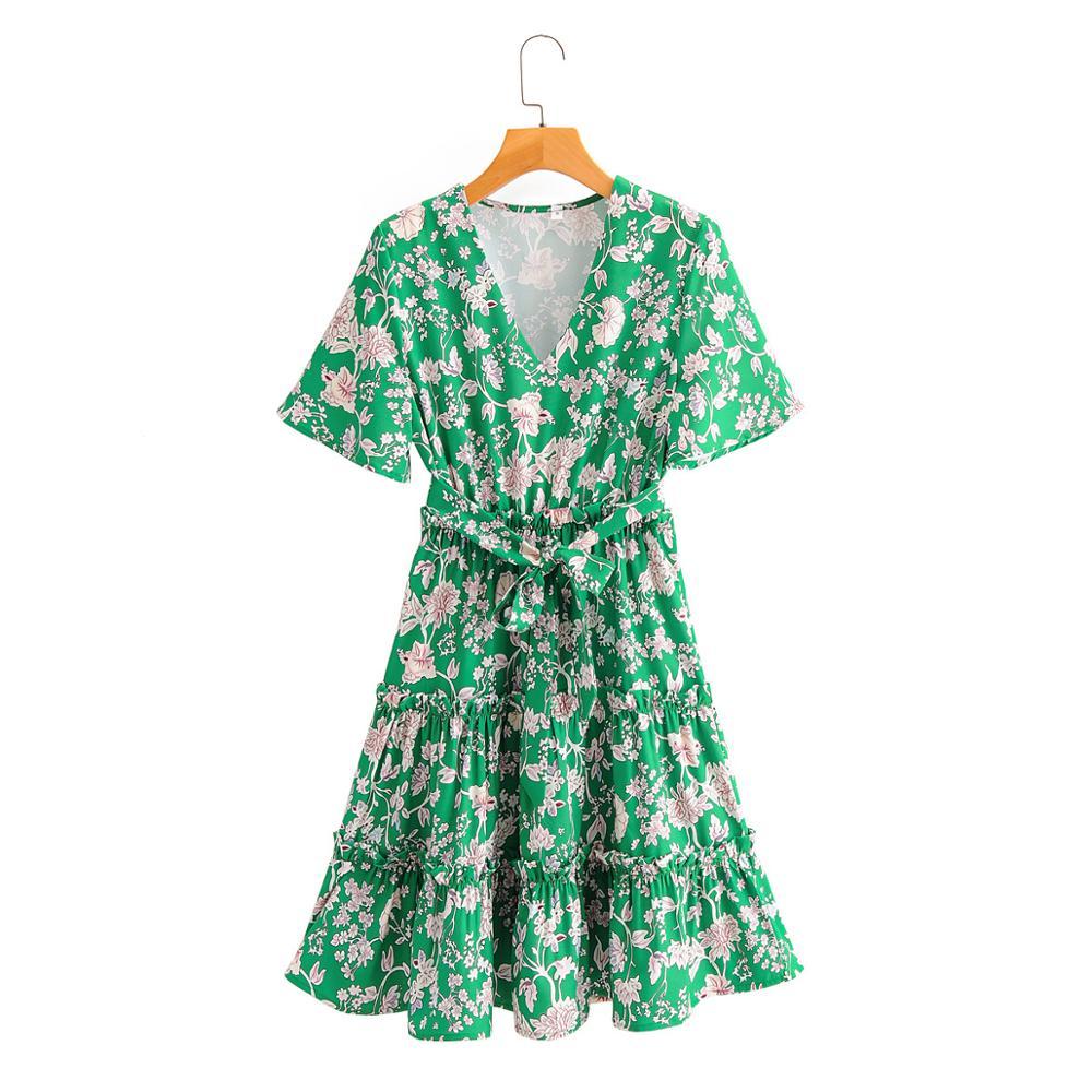 women ethnic v neck short sleeve flower print green mini dress female pleated ruffles sashes vestidos chic casual dresses DS3845