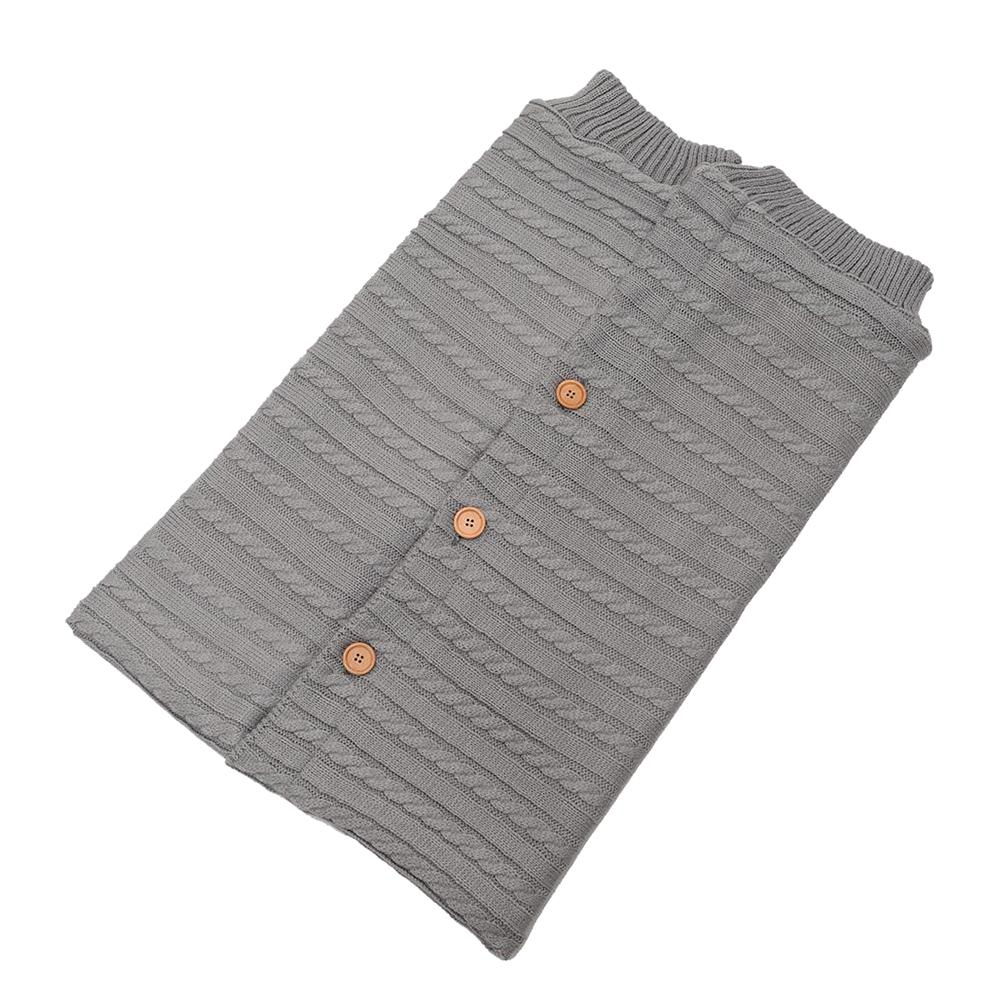 Button Baby Sleeping Bag Baby Outdoor Baby Stroller Wool Knitting Plus Velvet Thick Warm Baby Swaddle Blanket Wrap