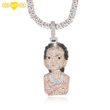 Iced Out Crystal The Boondocks Pendant Men's Women Hip Hop Necklace With Rose Chian Tennis Chain Fashion Jewelry With Gift Box(China)