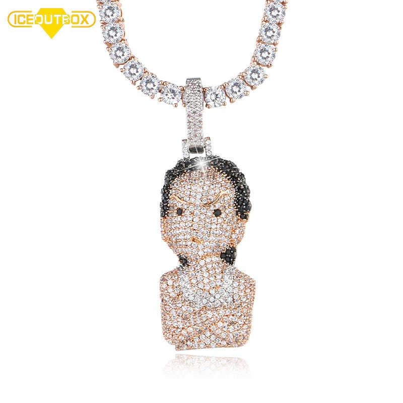 Iced Out kryształ The Boondocks wisiorek mężczyzna kobiet Hip Hop naszyjnik z różanym Chian tenis łańcuch moda biżuteria z pudełko na prezent