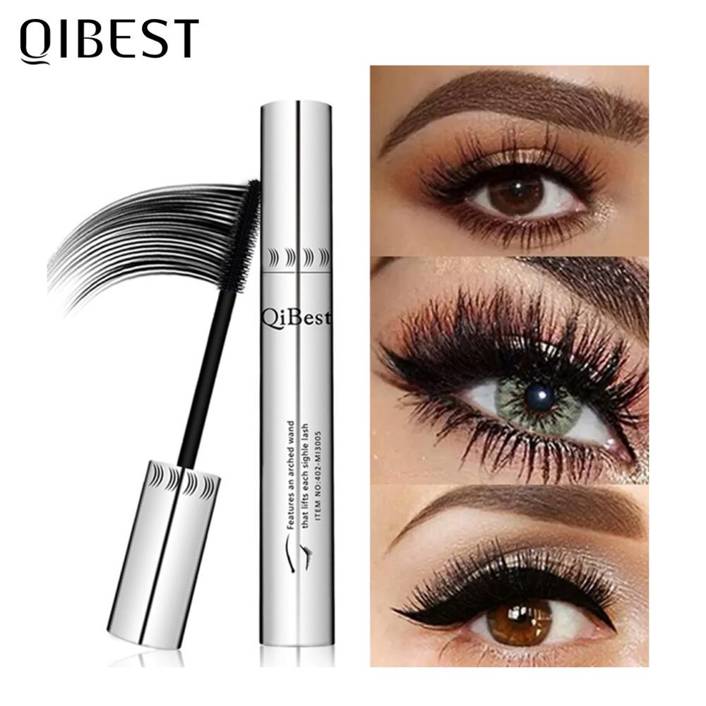 QIBEST Black Mascara Eyelashes Makeup 4D Silky Eyelashes Lengthening Eye Cosmetics Eyelashes Makeup Waterproof Mascara Volume