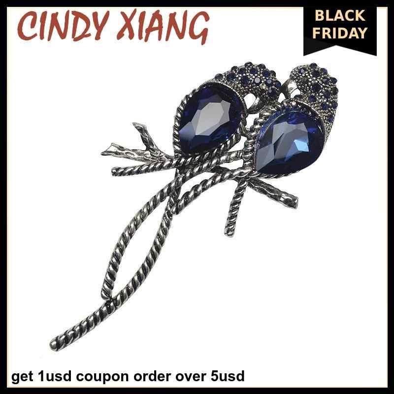 Cindy Xiang Paduan Seng dan Berlapis Perak untuk Wanita Hewan Bros Sepasang Burung Inlay Besar Berkilau Biru Kristal untuk Anak Perempuan Pin