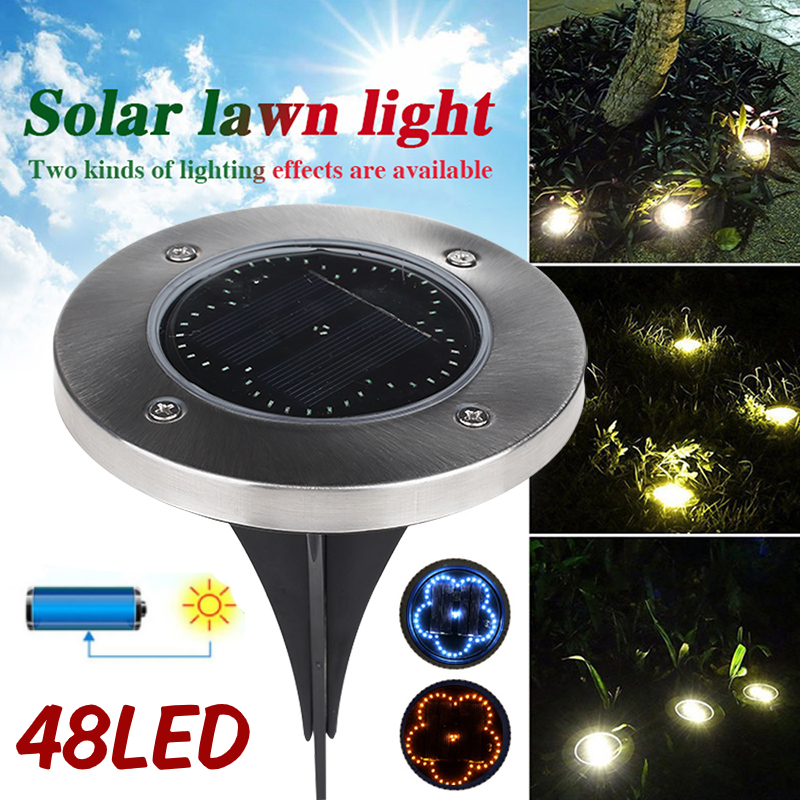 Ground Lamp Disk Lights Buried Light Eco-Friendly Durable 48LED Solar Power Flower Path Way Street Garden Decking Home Gutter