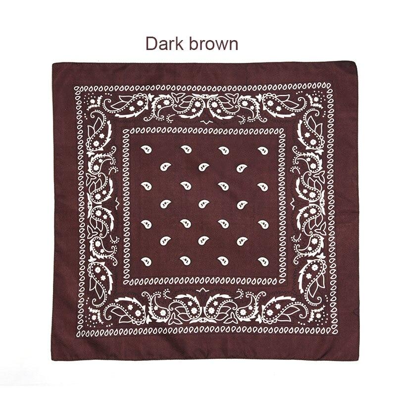 55 см* 55 см, унисекс, черная бандана, модный головной убор, повязка на голову, шейный шарф, повязки на запястье, квадратные шарфы, платок с принтом, Прямая поставка - Цвет: Green brown
