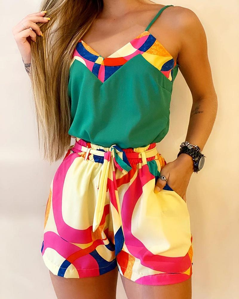 2020 Summer Women Elegant Vacation Print Spaghetti Strap Crop Top & Short Sets Casual Summer 2 Piece Outfits For Women