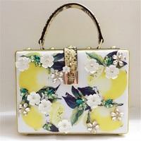 Small Square Bag Lemon Print Python Pattern Box Bag Cowhide Beaded Shoulder Messenger Bags High Quality Women Purse and Handbags
