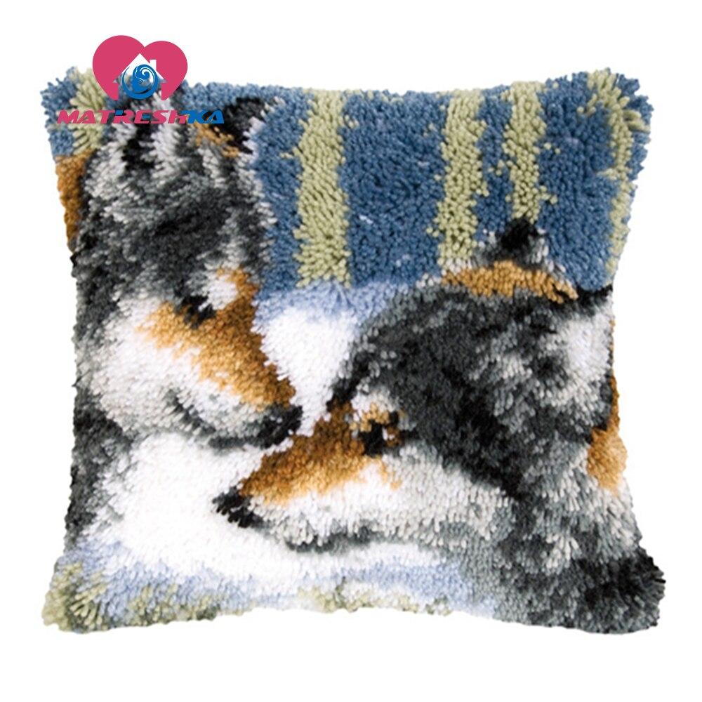 Lobo tapete bordado venda define travesseiro ponto cruz faça você mesmo joaninhas para needlework diy tapetes travesseiro ponto cruz