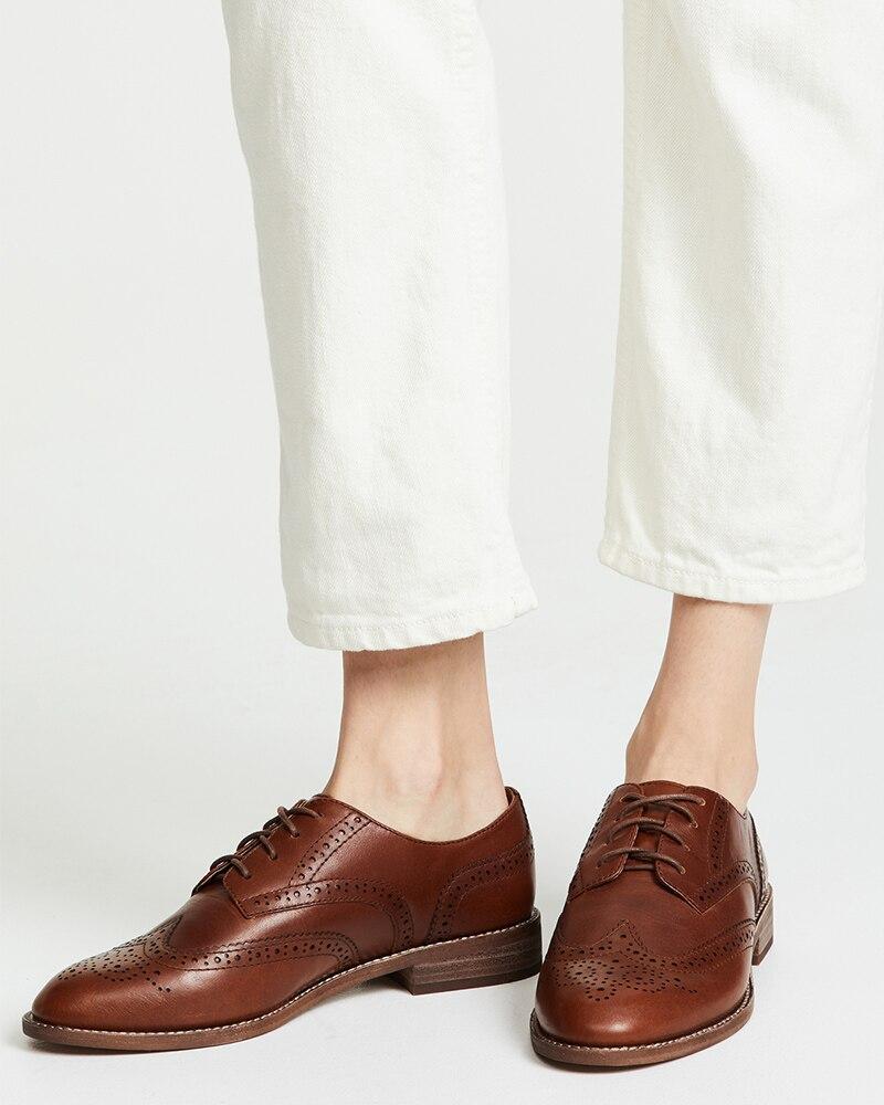 Shofoo marrom escuro oco para fora rendas até oxfords mulher plana dedo do pé redondo sapatos femininos tamanho grande 13 15 senhoras outono moda escritório - 5