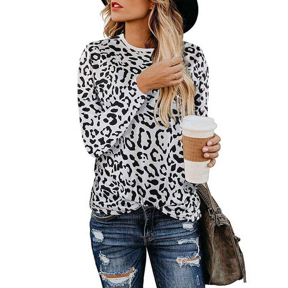 ヒョウプリント女性 Tシャツレディース Tシャツトップス秋のファッション長袖 O ネックルーズ女性服ホット販売