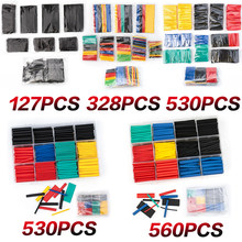 127PCS/164PCS/328PCS/560PCS 2:1 Poliolefinas Psiquiatra termoencolhível Isolamento banheira reparação fio de Várias cores heatshrink tubulação