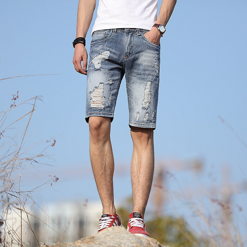 With Holes Jeans Male Fifth Pants Aberdeen Cool Popular Brand Light Blue Men Shorts Micro