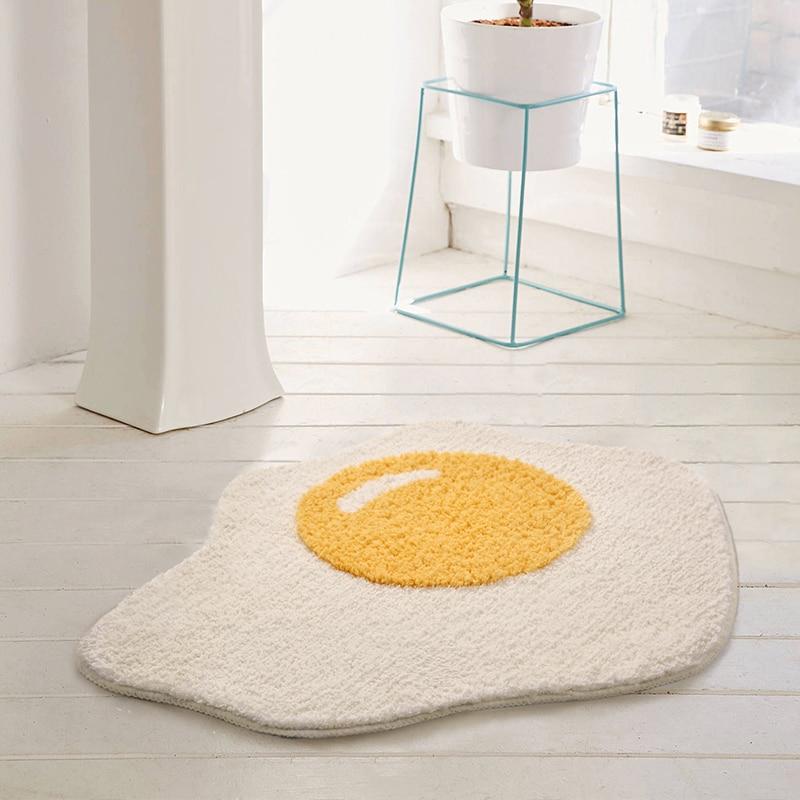 Egg Bathroom Rug Funny Entrance Carpet Area Rugs Kitchen Rug Badroom Floor Mats Nordic Welcome Doormat Chic Room Decor 70x58cm