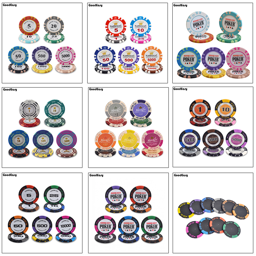 10PCS/SET Clay Poker Chips Crown Casino Monte Carlo Design Inner Metal Multi-design Las Vegas Poker Chip Set Trim Sticker Custom