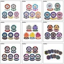 10 adet/takım kil Poker cips taç Casino Monte Carlo tasarım iç Metal çok tasarım Las vegas Poker fişi seti Trim Sticker özel
