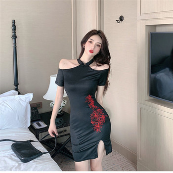 Summer new off-the-shoulder sexy retro split embroidery Chinese style dress 2020 temperament fashion lady black split dress