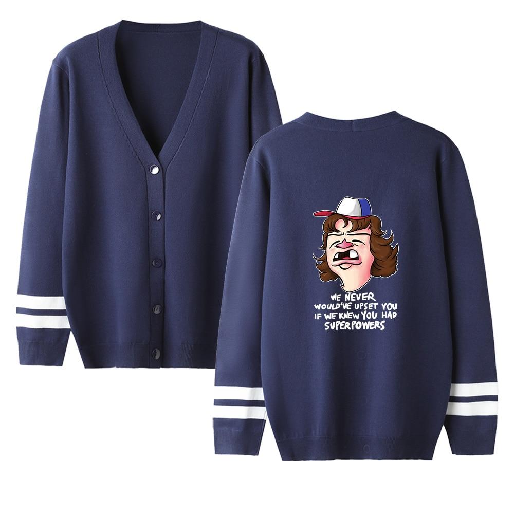 Popular Cool Stranger Things V-neck Cardigan Sweater Men/women Print Casual Sweater Stranger Things Navyblue Casual Tops