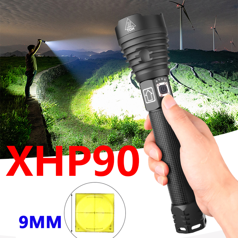 Brightest XHP90 LED Long-range Flashlight XHP70.2 Powerful Waterproof LED Torch Use 18650 Battery USB Rechargeable For Camping
