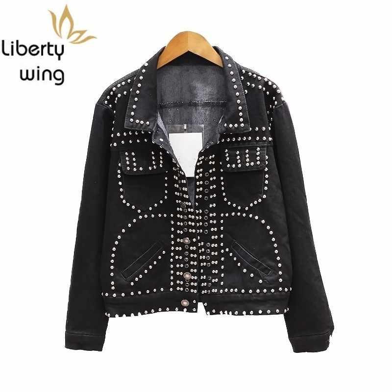 Classic Black Hip Hop Streetwear Personalized Rivet Patchwork Casaco Feminino Long Sleeve Stage Show Women Denim Jackets Coats