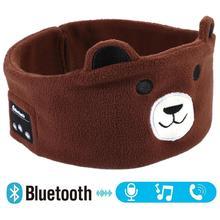 Auriculares inalámbricos con Bluetooth 5,0 para niños, mascarilla para dormir, auriculares de música suaves de dibujos animados con micrófono