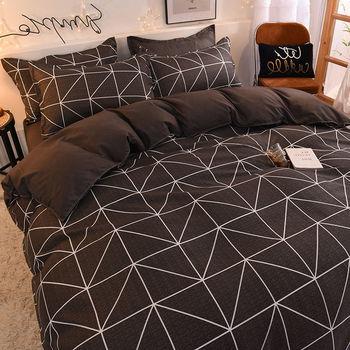 Bedding Set Brown Geometric Pattern