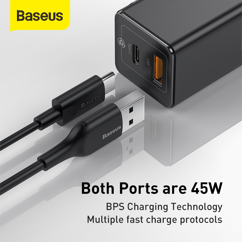 Baseus GaN 45W PD USB Charger Quick Charge 4.0 QC 3.0 SCP USB Type C Charger Fast Charging For Samsung Xiaomi iPhone Macbook Air