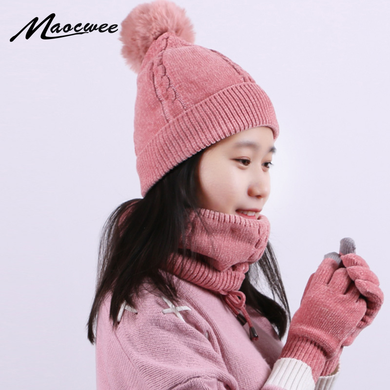 Women Knitted  Winter Hat Scarf And Gloves Three Pieces Set Thick Warm Pom Pom Hat With Lining Ring Scarf Screen Touch Glove Set