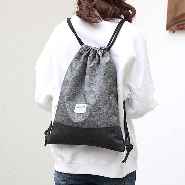 Women Men Drawstring Bags Women Canvas Backpack Beach Bag Outdoor Fitness Sport Bag Bundle Pocket Travel Softback Women Mochila 1