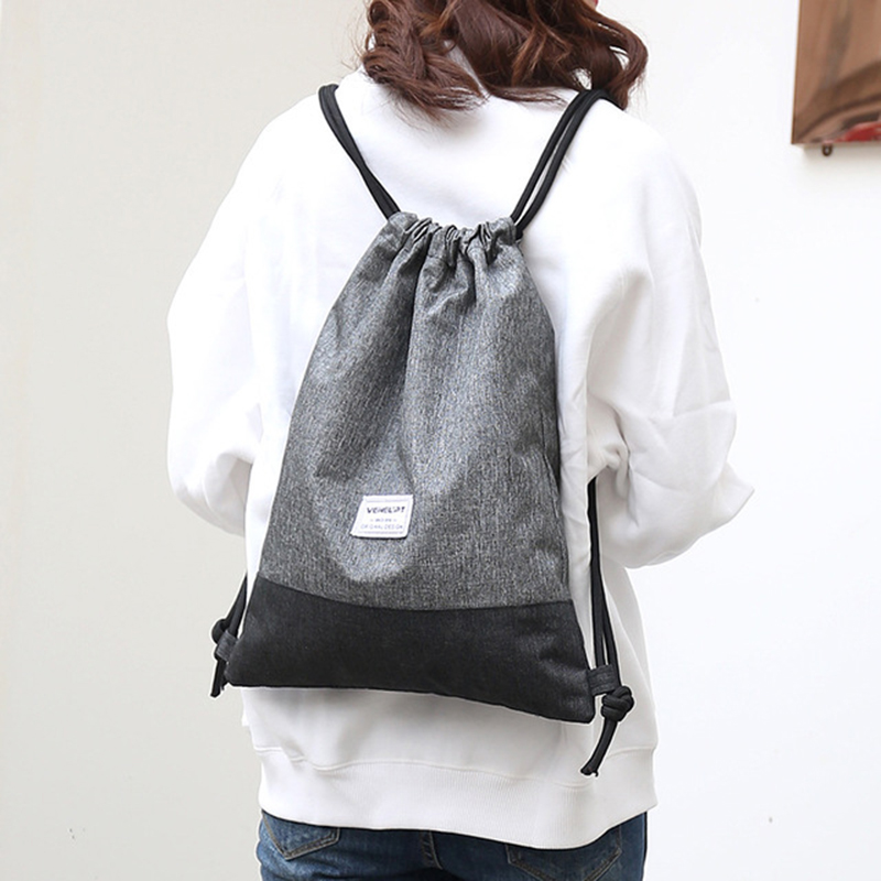 Women Men Drawstring Bags Women Canvas Backpack Beach Bag Outdoor Fitness Sport Bag Bundle Pocket Travel Softback Women Mochila
