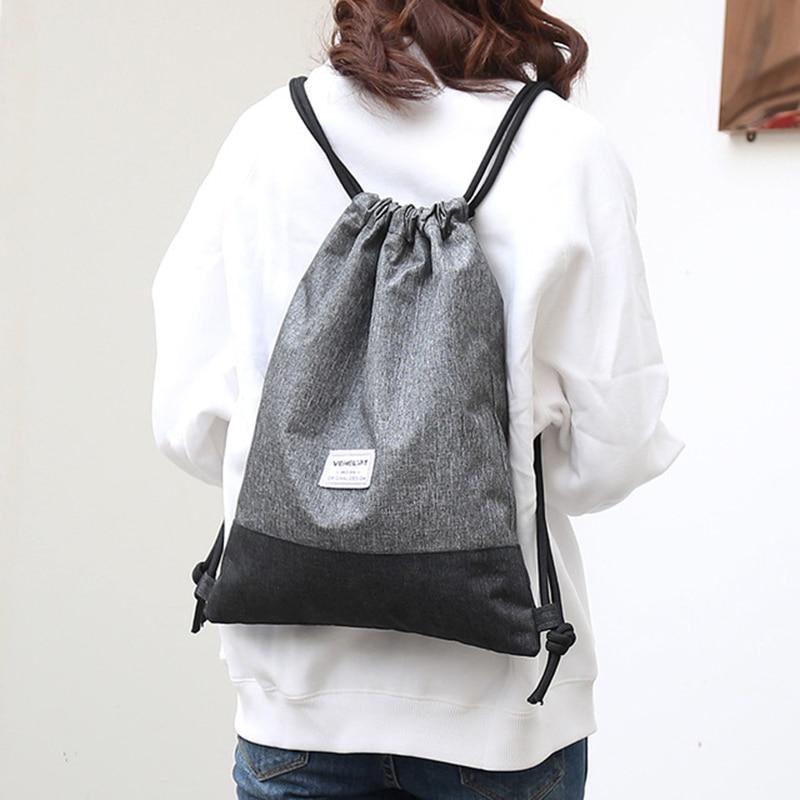 Women Men Drawstring Bags Women Canvas Backpack Beach Bag Outdoor Fitness Sport Bag Bundle Pocket Travel Softback Women Mochila