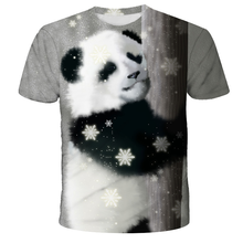 2021 fashion hot new animal world of giant panda 3D printing men's trend short-sleeved T-shirt pattern clothing man / woman Tops