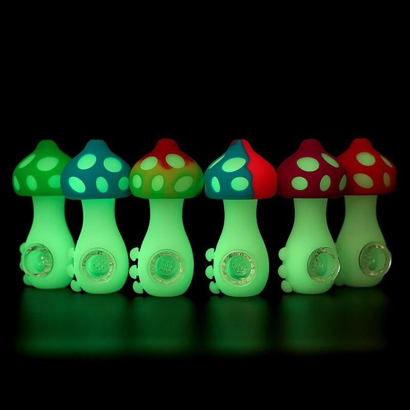Сияющая в темноте дымовая трубка премиум-класса со стеклянной чашей и фильтром Симпатичные дизайнерские грибы аксессуары для табака держа...