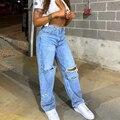 Simenual джинсы Рваные женские на молнии с высокой талией уличные мешковатые брюки синие модные весенние повседневные длинные брюки