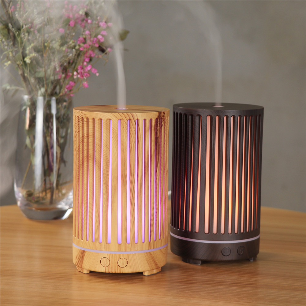 200ml ultrasonic cylindrical 7-color LED lamp aromatherapy essential oil diffuser, striped hollow fresh air humidifier
