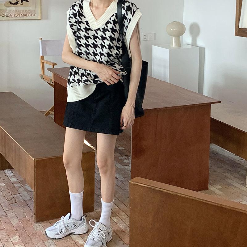 H79d6e42047434b66a87c1f45c466cf53E Women Sweater Vest Autumn Houndstooth Plaid V-neck Sleeveless Knitted Vintage Loose Oversized Female Sweater Vest Tops