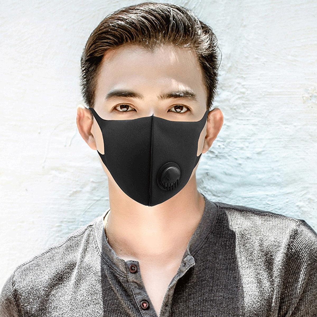 Cotton Dust-proof Mask Cycling Face Mask Unisex PM2.5 Washable Reusable Mask Breathable Mask Black Breathing Valve Mask FFP2