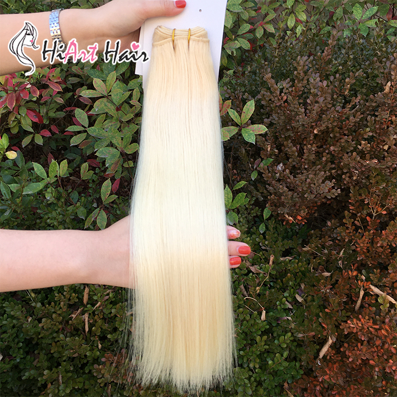 """Image 3 - HiArt 100g Weft Hair Extensions In Real Human Remy Hair Salon Double Drawn Blonde Bundle Hair Straight Factory 18"""" 22""""Hair Weft   -"""