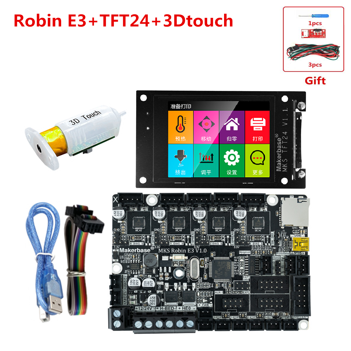 MKS Robin E3 Motherboard Creality CR-10 Replacement Parts MKS TFT 24 Touch Screen MKS TFT WIFI Controller Bed Leveling Sensor