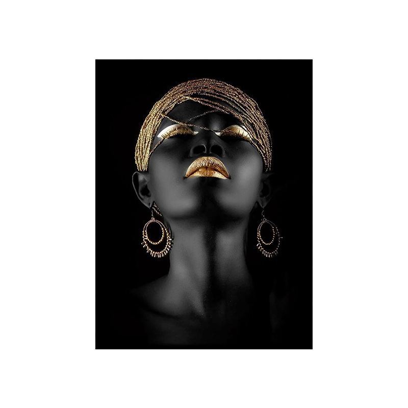 Beautiful-Black-African-Women-s-Golden-Lips-Decorative-Painting-Living-Room-Corridor-Hanging-Painting-Frameless-Painting