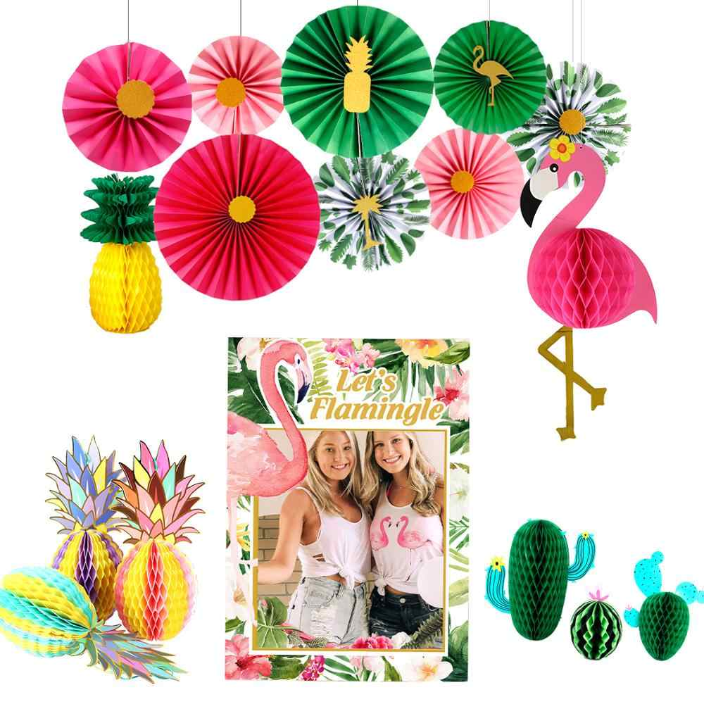 FENGRISE Pineappl Flamingo Paper Fans Summer Hawaiian Party Decorations Hawaii Tropical Party Luau Aloha Wedding Decor