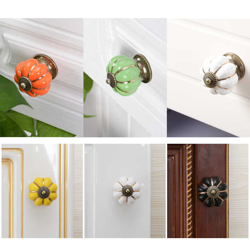 Vintage Furniture Handle Door Knobs Furniture Drawer Cupboard Kitchen Pull Handle Pumpkin Ceramic Cabinet Handles Retro Hardware