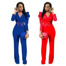 Outfits Bodysuit one-piece Popular v-neck solid lace patchwork petal sleeve straight female Back Strap Romper Women Jumpsuit plunge v neck strap back lace romper in printing
