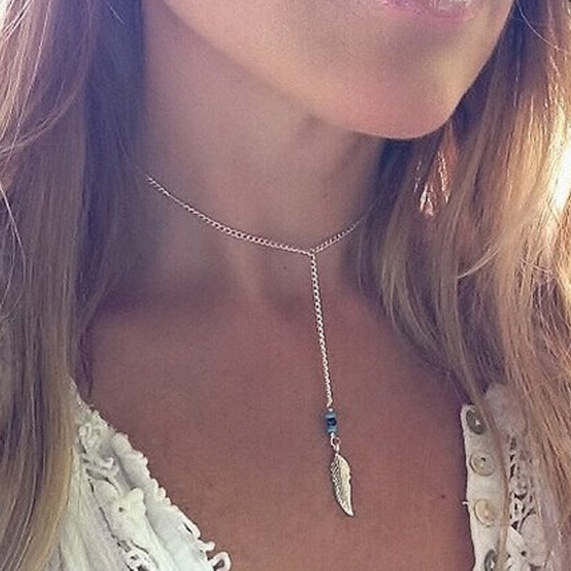 Women Necklace Tassel Charms Necklaces Feather Chain Ladies Beads Pendant Girls Jewelry Gold Color Trendy European Metal Collier