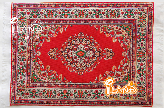 1:12 Dollhouse Miniature Carpet Red Turkey Vintage Patterned Woven Rug Floor Carpet Coverings For Dollhouse Decor Accessories