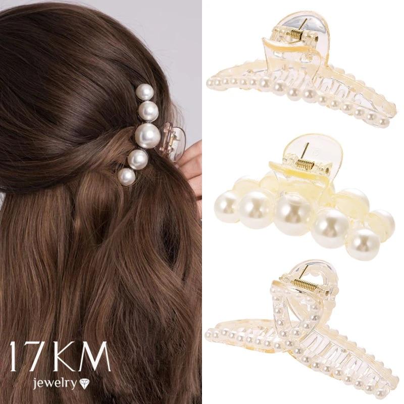 Crystal Pearl Hair Clip Women Hair Claw Barrettes Crab Hairpins Hair Accessories