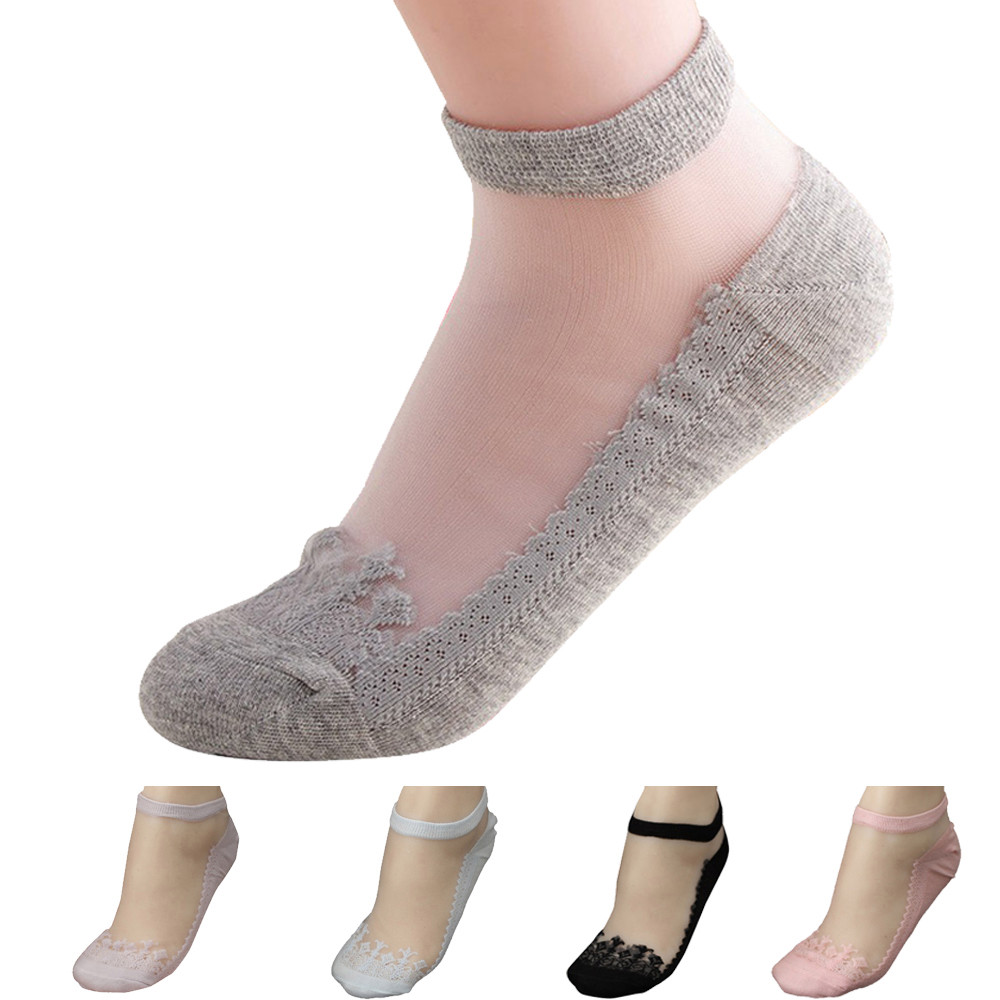 Ultrathin Lace Elastic Transparent Crystal Comfortable Women Ladies Socks U