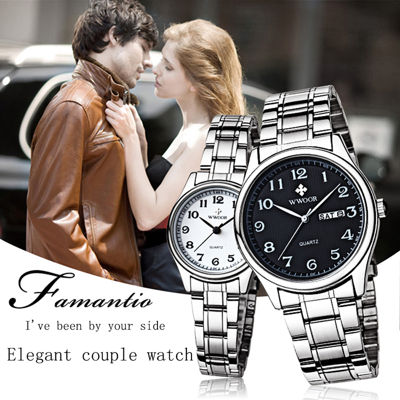 Quartz Fashion Lovers Watch WWOOR Top Brand Quality Casual Couples Wristwatch Stainless Steel Week Date Men Clock Women Bracelet