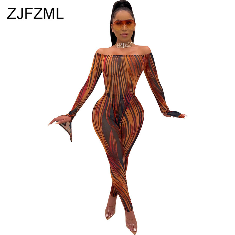 Striped Perspective Sexy Bandage   Jumpsuit   Women Backless Slash Neck Bodycon Party Romper Fall Skinny Long Flare Sleeve Bodysuit