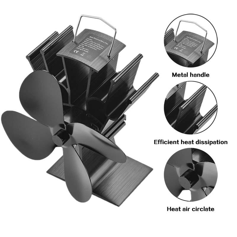 Stove Fan Black Fireplace 4 Blade Heat Powered Stove Fan Wood Burner Home Efficient Heat Distribution Quiet Fan