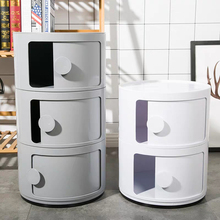 Plastic bedside table simple modern bedroom corner cabinet bathroom storage cabinet multifunctional round nightstand